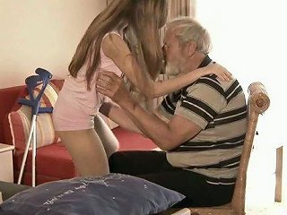 Pale Brunette With Pretty Tits Gonna Please The Dick Of The Old Man