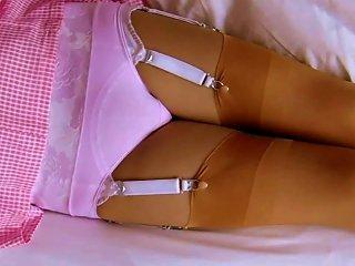 Gingham School Dress Cotton Panties & Nylon Stockings